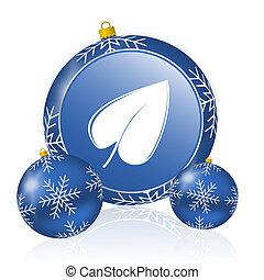 Leaf blue christmas balls icon