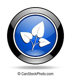 leaf blue glossy icon