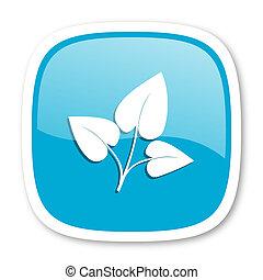 leaf blue glossy web icon