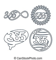 leaf brain world 365 infinity logo icon outline illustration