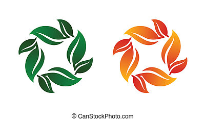 Leaf Bunch Icon Vector Illustration on Both Spring and Fall