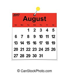 Leaf calendar 2017 with the month of August
