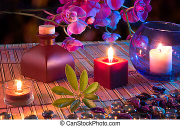 leaf, candles, oil, potpourri, glass dots, orchids and bamboo