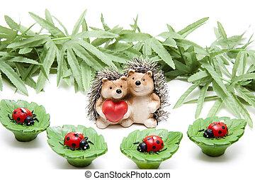 Leaf candles with hedgehog pair of