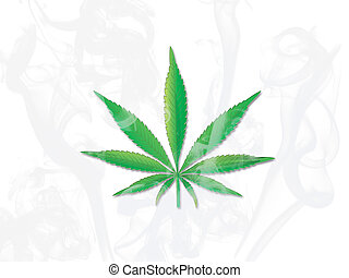 Leaf cannabis smoke on white background