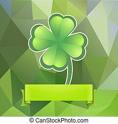 Leaf clover on a green background