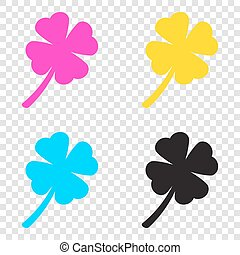 Leaf clover sign. CMYK icons on transparent background. Cyan, ma