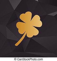 Leaf clover sign. Golden style on background with polygons.