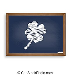 Leaf clover sign. White chalk icon on blue school board with sha