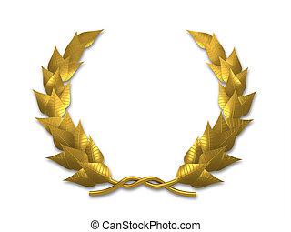 A golden leaf crest on white background - 3d render