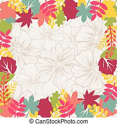 Autumn background leaves border Vector illustration