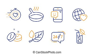 Leaf dew, Friends world and Medical tablet icons set. 24/7 service, Timer and Frying pan signs. Vector