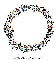 Leaf doodle wreath. Vintage round