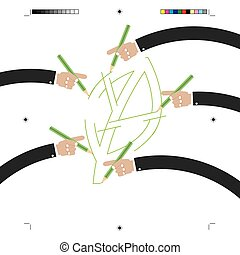 Leaf Drawing By Many Hands Green Concept Vector Illustration