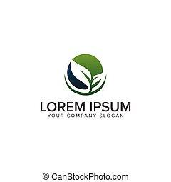 leaf eco green logo design concept template