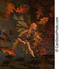 Leaf Fairy Child with Autumn (fall)