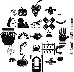 Leaf fall icons set, simple style