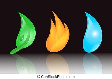 leaf, fire and water
