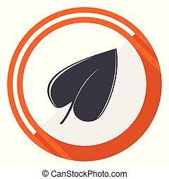Leaf flat design vector web icon. Round orange internet button isolated on white background.