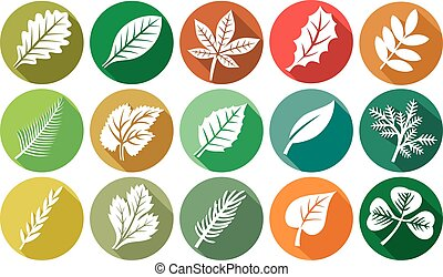 leaf flat icons set (leaves icons)