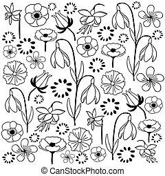leaf & flower set 4 black & white