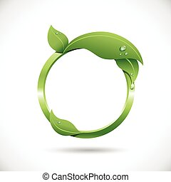 Round frame with fresh leaves and dewdrops. Frame is colored with just a few global swatches, so file can be recolored easily. All elements are grouped separately, and file is layered for easy editing.