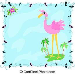 Leaf Frame with Flamingo on an Island
