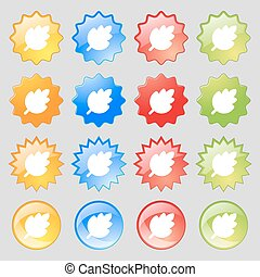 Leaf, Fresh natural product icon sign. Set from sixteen multi-colored glass buttons with place for text. Vector