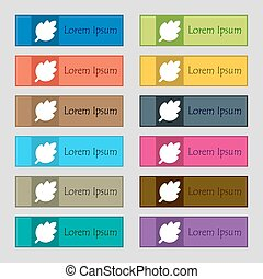 Leaf, Fresh natural product icon sign. Set of twelve rectangular, colorful, beautiful, high-quality buttons for the site. Vector