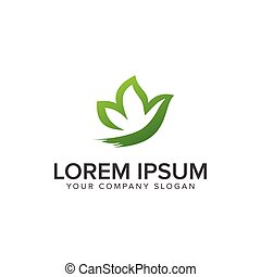 Leaf Garden butterfly logo design concept template