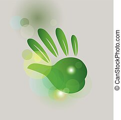 Leaf green hand bubbles bokeh logo