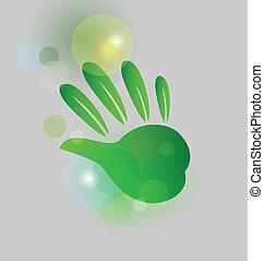 Leaf green hand bubbles bokeh logo