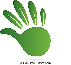 Leaf green hand logo