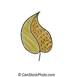 leaf., hand-drawn, stil, isolerat, design, växt, fond färga...