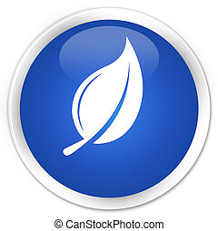 Leaf icon blue glossy round button