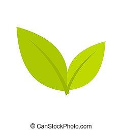 Leaf icon, flat style