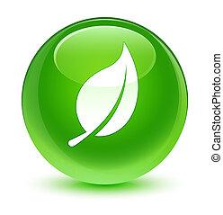 Leaf icon glassy green round button