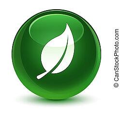 Leaf icon glassy soft green round button
