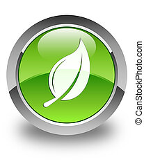 Leaf icon glossy green round button