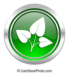 leaf icon, green button, nature sign