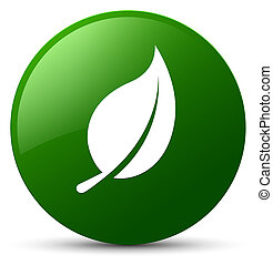 Leaf icon green round button