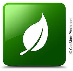 Leaf icon green square button