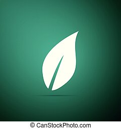 Leaf icon isolated on green background. Flat design. Vector Illustration
