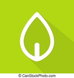 Leaf icon-logo with long shadow style on green background, Vector illustration
