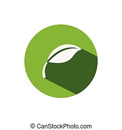 Leaf. Icon on a green circle. Nature vector illustration