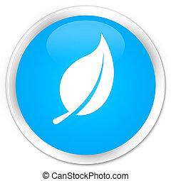 Leaf icon premium cyan blue round button
