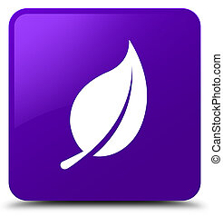 Leaf icon purple square button