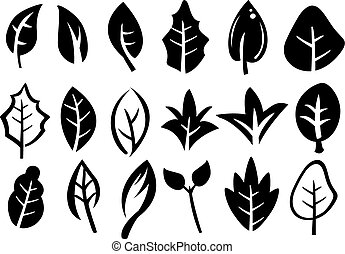 Leaf Icon Set - icons of leaves in variety of shape designs...