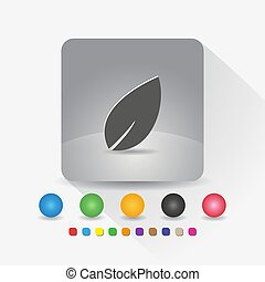 Leaf icon. Sign symbol app in gray square shape round corner with long shadow vector illustration and color template.