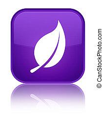 Leaf icon special purple square button